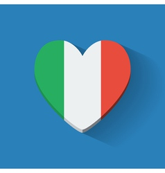 Heart-shaped icon with flag of italy vector