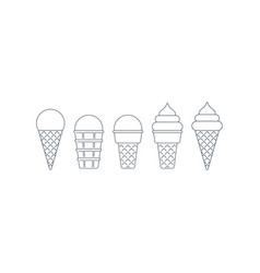 ice cream cone linear icons ball and twisted top vector image