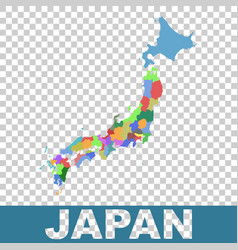 Japan administrative map flat vector