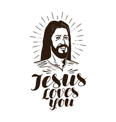 jesus loves you lettering religion concept vector image