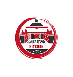 kitchen cooking circle logo vector image