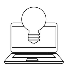 Laptop with bulb light vector