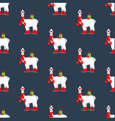 Llama on skates seamless pattern vector