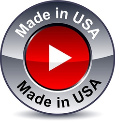 Made in USA round button vector