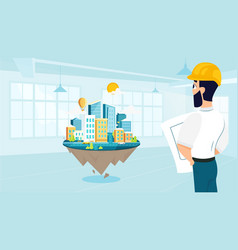 man architect designs the architecture of the city vector image