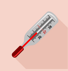 medical mercury thermometer icon flat style vector image