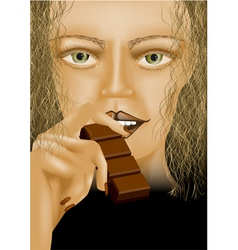 Model eating chocolate vector