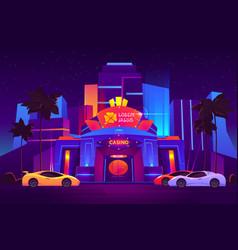 Modern luxury casino entrance cartoon vector