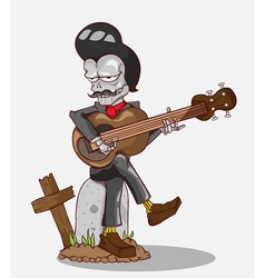Monster in Halloween night skeleton play guitar vector image