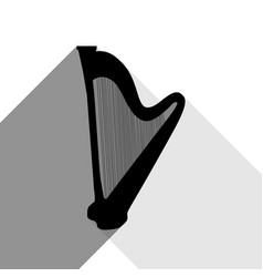 musical instrument harp sign black icon vector image