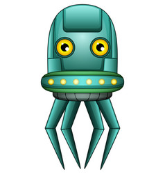Octopus robot character isolated on white backgrou vector