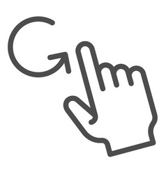 One finger rotate line icon swipe vector