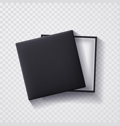 open black empty gift box on transparent vector image