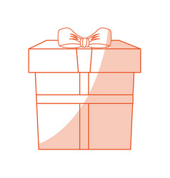 Orange shading silhouette cartoon giftbox with vector