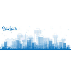 Outline wichita skyline with blue buildings vector