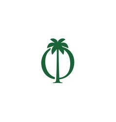 palm tree o letter mark logo icon vector image