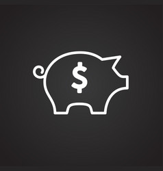 Piggy bank thin line on black background vector