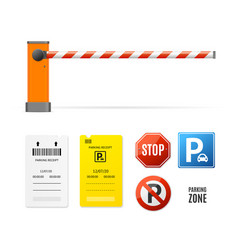 Realistic detailed 3d parking elements set vector