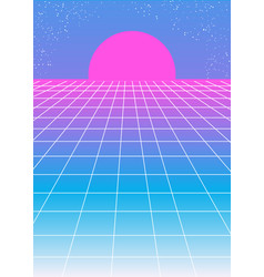 retro pink blue background 1980s style with pink vector image