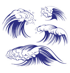 sea waves set icon collection cartoon hand drawn vector image