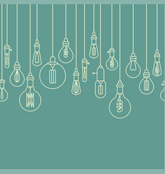 Seamless border made of retro light bulbs vector