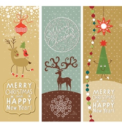 set christmas and new year banners vector image