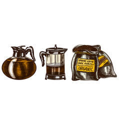 set coffee in vintage style bag french press vector image