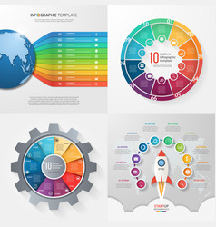 Set of 4 infographic templates with 10 processes vector