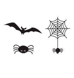 set of halloween icon symbols spider hanging from vector image