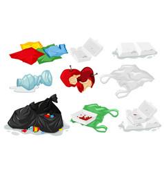 set of plastic trash vector image