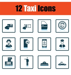 Set of twelve Taxi icons vector image