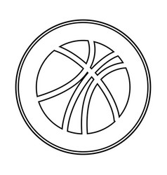Silhouette circular border with with basketball vector