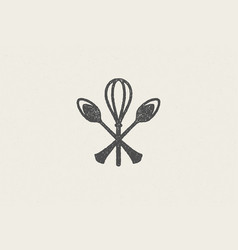 silhouette spoons and whisk crossed together vector image