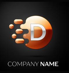 Silver letter d logo gold dots splash and bubble vector