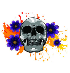 skull and flowers day the dead vintage vector image