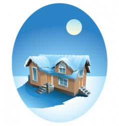 snow covered house in winter vector image