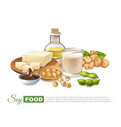 Soy food products poster vector