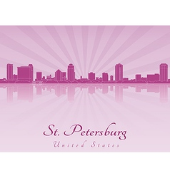 St Petersburg skyline in purple radiant orchid vector