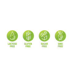 Sugar gluten lactose and gmo free - stamps set vector