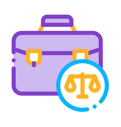 Suitcase law and judgement icon vector