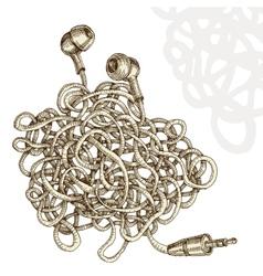Tangled earphones vector image