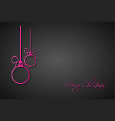 Three pink christmas balls with bows and strings vector
