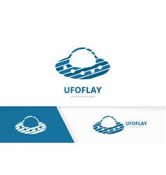 ufo logo combination spaceship symbol or vector image