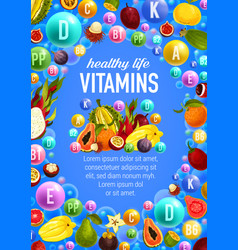 Vegetables and fruits vitamins vector