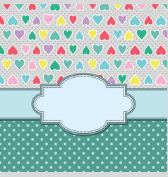 vintage frame with hearts vector image