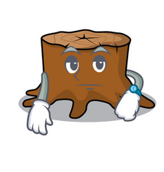 Waiting tree stump mascot cartoon vector