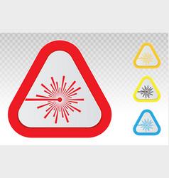 Warning sign - laser beam ray flat icon vector