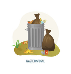 waste disposal metal can with rubbish and litter vector image