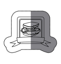 White emblem sandwich fast food icon vector
