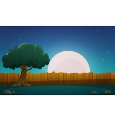 Wooden Fence With Tree At Night Time vector